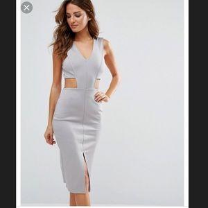 TopShop Sexy cutout silver/grey midi dress
